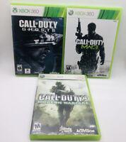 CALL OF DUTY XBOX 360 LOT  MW, MW3, Ghosts COD Lot 3 Modern Warfare