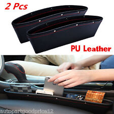 2 Pcs PU Leather Catch Catcher Storage Organizer Box Caddy Car Seat Slit Pocket