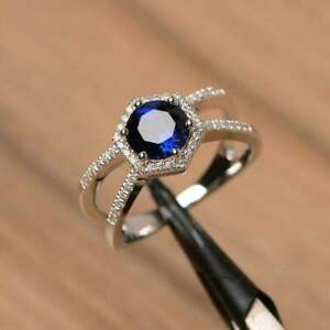 925 Sterling Silver Handmade Certified 5 CT Blue Sapphire Engagement Gift Ring
