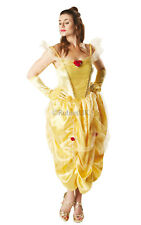 Ladies DISNEY BELLE Deluxe Princess Fairytale Fancy Dress Costume Adult Outfit