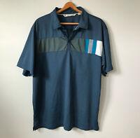 MENS Travis Mathew Polo Short Sleeve Shirt Golf Mens sz XL Blue Logo Gray