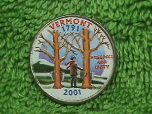 UNITED STATES 25 Cents 2001 P COLORIZED VERMONT TYPE 2