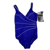 Miraclesuit Womens Size 16 Royal Blue Draped Shaping One Piece Swimsuit NWT