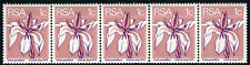 South Africa 430a, strip of 5 with control number, MNH. Wild Iris, 1975