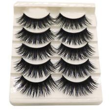 NEW 10 Pairs Natural Long Fake Eye Lashes Thick  Eyelashes Black w/ Blue Streaks