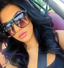 Oversized Huge XXL Glossy Black Square Rectangular Flat Celebrity Sunglasses LUX