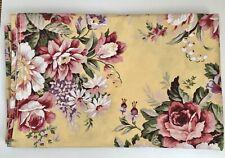 RALPH LAUREN Sophie Brooke Yellow Floral Full Flat Sheet Vintage New tNWOT!