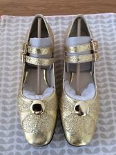 Orla Kiely Clarks, Angelina Gold Sparkle Shoes Size 5, EUR 38, Vintage Style