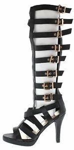 Multi Buckle Strappy mid calf knee high Gladiator Boot Stilettos heels Sandals