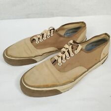 Vintage 1960s Keds Champion Oxford Canvas Sneakers Two-tone Shoes Tan Size 10