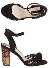 DOROTHY PERKINS 'SKYLAR' Black Brocade Block Heel Sandals Shoes Size 6 *BNIB*