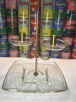 Vintage Mid Century Modern Hollywood Regency Lucite Brass & Glass Candleholder