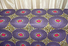 African Print Fabric - Ankara/Red/Purple/Lilac/Cotton/Panel/23x9in/Wax/Craft
