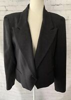 VTG E.R. GERARD for RENLYN 100% Wool Blazer Womens 14 Structured Charcoal Gray