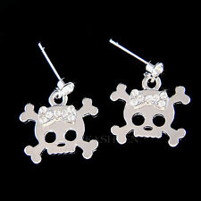 w Swarovski Crystal ~Gothic Skull Crossbones~ Hip Hop Monster High Bow Earrings