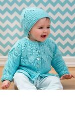 TB024 KNITTING PATTERN SEED STITCH CARDIGAN AND HAT BABY TODDLER in ARAN
