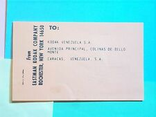 KODAK 1950s PACKING SLIP FROM EASTMAN KODAK TO VENEZUELA S.A. CARACAS ORANGE COL
