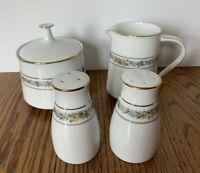 Noritake Macon #6717 Sugar Bowl & Creamer Shakers White Floral Ring China