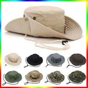 Mens Camo Sun Hat Bucket Cargo Safari Bush Boonie Summer Fishing Hiking Hats Cap