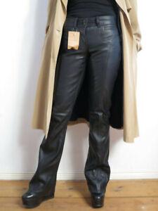 VIBRER Damen Lederhose 29 schwarz echt Buffalo Leder bootcut Vintage Art 995 NOS