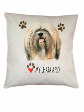 Lhasa Apso Heart Breed of Dog Cotton Cushion Cover - Perfect Gift