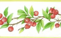 Wallpaper Border Country Red  Winter Berries Red White Green Yellow Edge