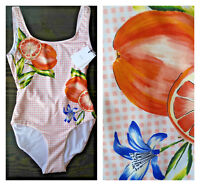 🆕ONIA Womens One Piece Swimsuit L & XL Checked Leaves  Oranges Citrus Summer