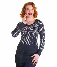 Hell Bunny Womens Belle Stag Xmas Christmas Knit Jumper Navy Blue Red UK 10 (s) Blue