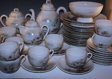 NIPPON SATSUMA 42 piece  SET, MOUNT FUJI, CUPS, PLATES TEAPOT, BOWLS MEJI PERIOD