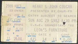 HEART AND JOHN COUGAR TORONTO TICKET STUB 1982 CNE GRANDSTAND very rare ticket