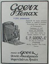 PUBLICITE GOERZ TENAX APPAREIL PHOTO DAGOR CELOR SYNTOR DE 1912 FRENCH AD PUB