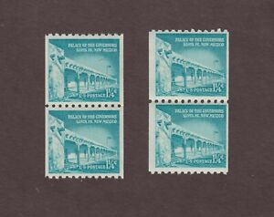 US,1054a,1054al,LARGE SMALL HOLES,COIL PAIRS,LIBERTY SERIES MINT NH,OG