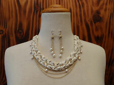 Etikka Necklace Layered Ribbon Chain Fresh Water Pearls With FWP Drop Earrings