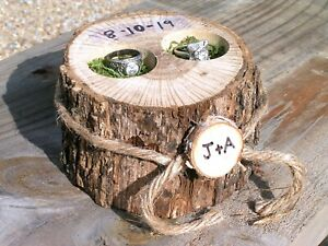 Personalized wedding Ring bearer box, ring pillow alternative, Country wedding
