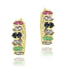 Gold on Silver .96ct Multi Gemstone & Diamond Earrings