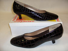 MAGDESIANS CA USA WOMENS SHOES 8.5 N BLACK CROCCO ANIMAL LEATHER PUMPS CLASSIC
