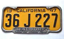 Waldorf DeSoto Plymouth Dealer Los Angeles, CA License Plate Frame 1940 - 1955