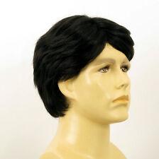 Perruque homme 100% cheveux naturel noir ref OLIVIER 1b