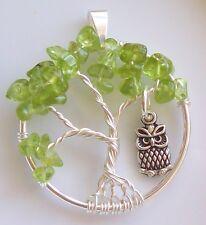 Tree of Life Pendant Necklace Peridot Bonsai Birthstone Silver Owl Handmade USA