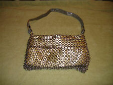 Vintage Whiting And Davis Chain Link Pocketbook-Gold Color Material-Unusual Link