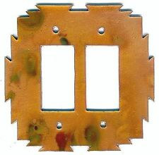"""COPPERCUTTS Heat Treated Copper 6"""" x 6"""" Double Switch Plate SouthWest Rustic"""