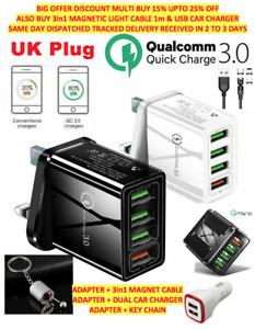 4 Multi-Port Fast Quick Charge QC3.0 USB Hub Mains Wall Charger Adapter UK Plug