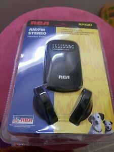 New RCA RP-1610 AM FM Stereo Headset Radio w/ Belt Clip & Headphones RP1610