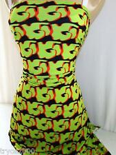POLY LYCRA 4W STRETCH GORGEOUS & RARE GREEN-BLACK-ORANGE PRINT