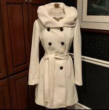 Anthropologie White Wool Belted Collar ~Runway Lapel Coat~ Peacoat Elevenses 8 M