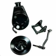 SBC Chevy Black Power Steering Pump Saginaw  w/ Bracket & Single Groove Pulley