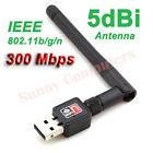 New WiFi Wireless Network Card USB Adapter With 5dBi Antenna 802.11b/g/n 300M AU