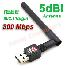 Wireless Network Card Internet USB Adapter w/ 5dBi Antenna 802.11n/g/b 300Mbps