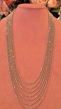 66cm 7 Strand 18ct Oro Blanco Collar de cuentas con / Engastados DIAMANTES -