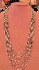 26 inch 7 Strand 18K White Gold Bead Necklace w/Bezel Set Diamonds - HM1547